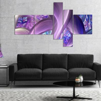 Designart Purple Blue Fractal Curves Multipanel Abstract Canvas Art Print - 4 Panels