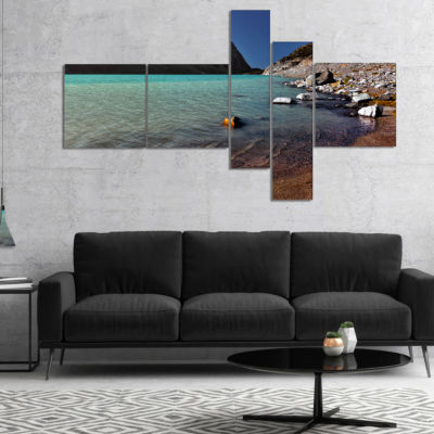 Designart Bright Blue Waters Of Mountain Lake Multipanel Landscape Canvas Art Print - 4 Panels
