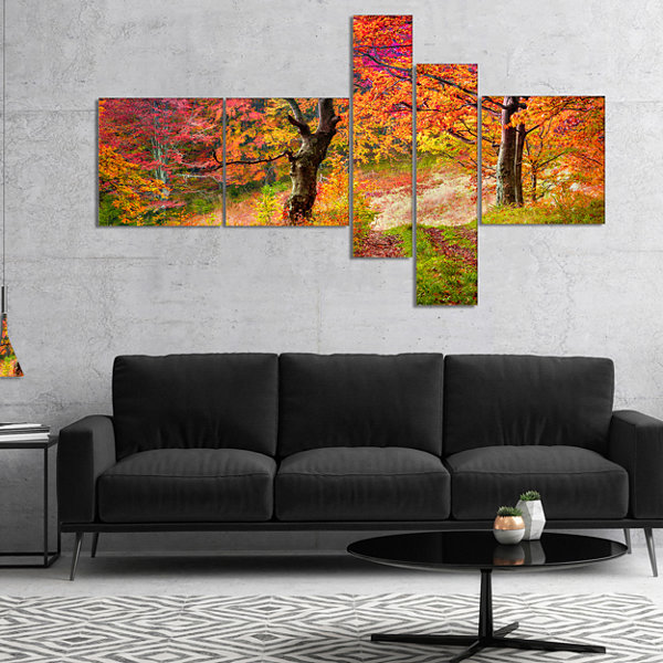 Designart Bright Colorful Fall Trees In Forest Multipanel Large Landscape Canvas Art Print - 4 Panels