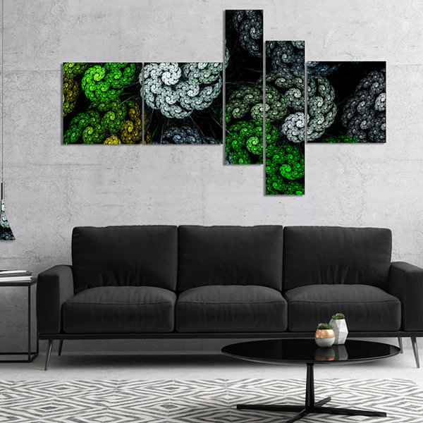 Designart Bright Exotic Spiral Flowers MultipanelAbstract Wall Art Canvas - 4 Panels