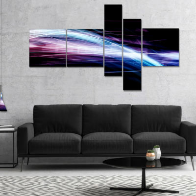 Designart Purple Blue Lines In Black Multipanel Abstract Canvas Art Print - 5 Panels