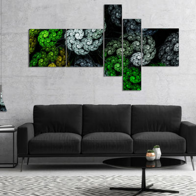 Designart Bright Exotic Spiral Flowers MultipanelAbstract Wall Art Canvas - 5 Panels
