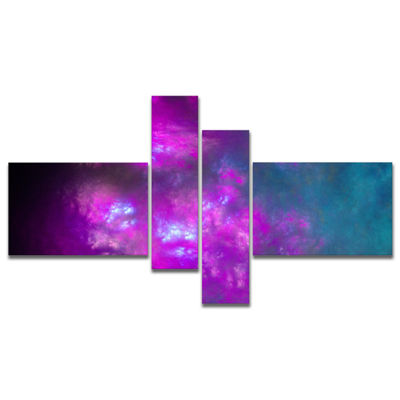 Designart Purple Blue Starry Fractal Sky Multipanel Abstract Canvas Art Print - 4 Panels