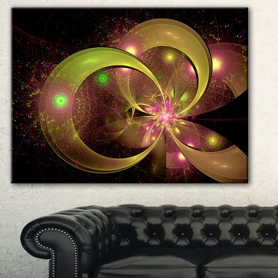 Designart Symmetrical Green Fractal Flower FloralArt Canvas Print - 3 Panels
