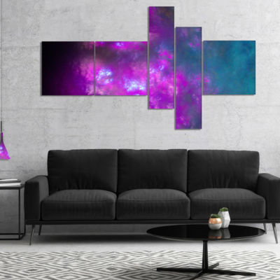 Designart Purple Blue Starry Fractal Sky Multipanel Abstract Canvas Art Print - 5 Panels