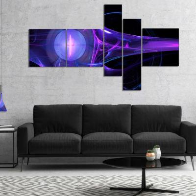 Designart Purple Bright Candle Multipanel AbstractCanvas Art Print - 5 Panels