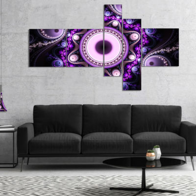 Designart Bright Fractal Circles And Waves Multipanel Abstract Canvas Art Print - 5 Panels