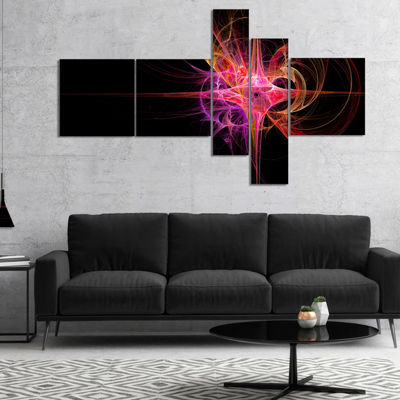 Designart Purple Bright Star Multipanel AbstractCanvas Art Print - 4 Panels