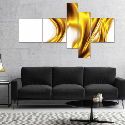 Designart Bright Gold Texture Pattern Multipanel Abstract Canvas Art Print - 4 Panels