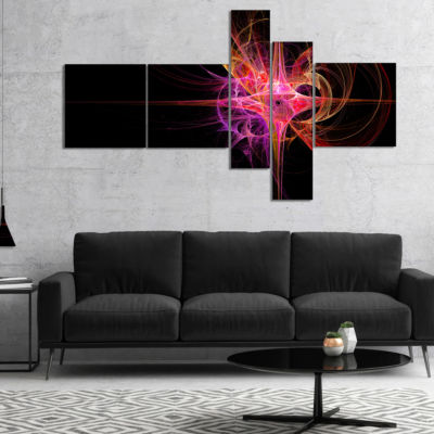 Designart Purple Bright Star Multipanel AbstractCanvas Art Print - 5 Panels