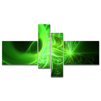 Designart Bright Green Designs On Black MultipanelAbstract Wall Art Canvas - 4 Panels