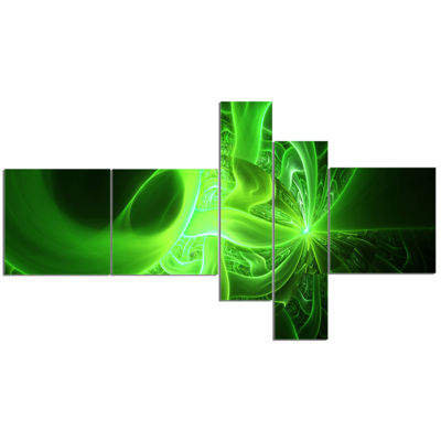 Designart Bright Green Designs On Black MultipanelAbstract Wall Art Canvas - 5 Panels