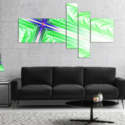 Designart Bright Green Fractal Cross Design Multipanel Abstract Canvas Art Print - 4 Panels