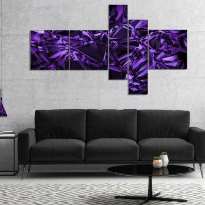 Designart Purple Crystal Texture Design MultipanelAbstract Canvas Art Print - 4 Panels