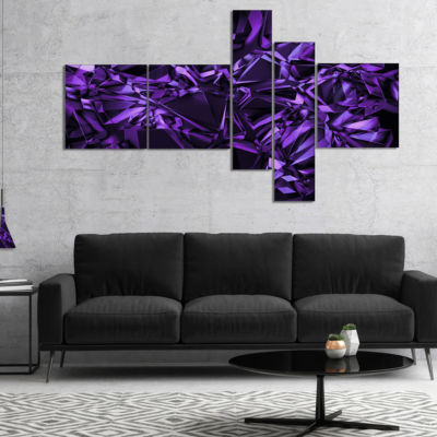 Designart Purple Crystal Texture Design MultipanelAbstract Canvas Art Print - 5 Panels