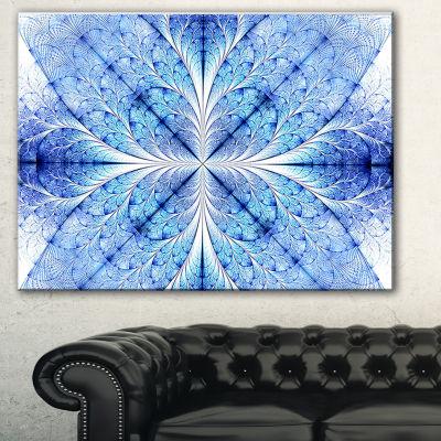 Designart Symmetrical Light Blue Pattern Floral Art Canvas Print - 3 Panels