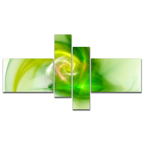 Designart Bright Green Fractal Illustration Multipanel Abstract Canvas Wall Art - 4 Panels