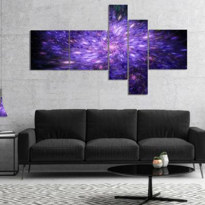 Designart Purple Fireworks On Black Multipanel Abstract Art On Canvas - 5 Panels