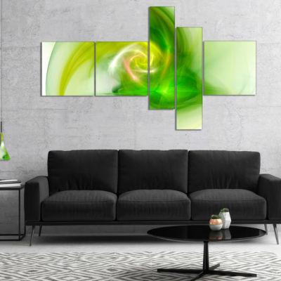 Design Art Bright Green Fractal Illustration Multipanel Abstract Canvas Wall Art - 5 Panels