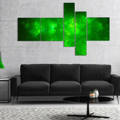 Designart Bright Green Fractal Sky With Stars Multipanel Abstract Canvas Art Print - 5 Panels