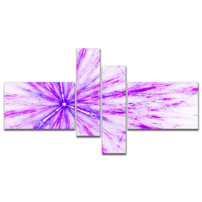 Designart Purple Flash Of Supernova Multipanel Abstract Canvas Art Print - 4 Panels