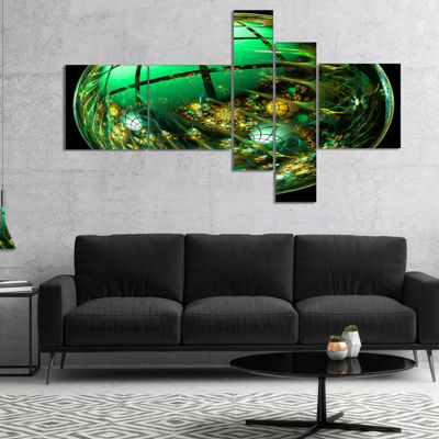 Designart Bright Green Fractal Sphere MultipanelAbstract Canvas Art Print - 4 Panels
