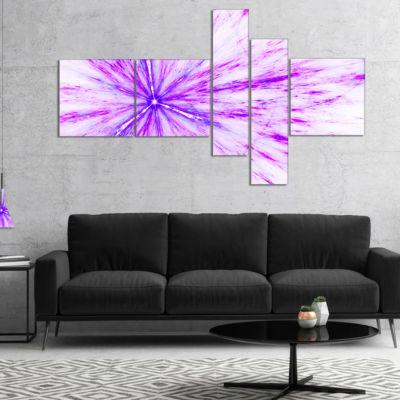 Designart Purple Flash Of Supernova Multipanel Abstract Canvas Art Print - 5 Panels