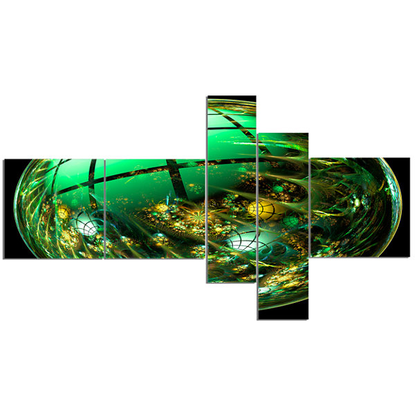 Designart Bright Green Fractal Sphere MultipanelAbstract Canvas Art Print - 5 Panels