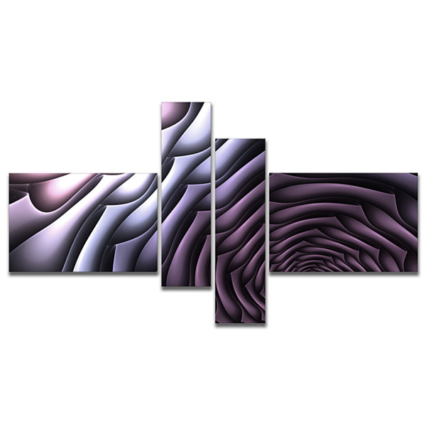 Designart Purple Flower Shaped Fractal Art Multipanel Abstract Wall Art Canvas - 4 Panels