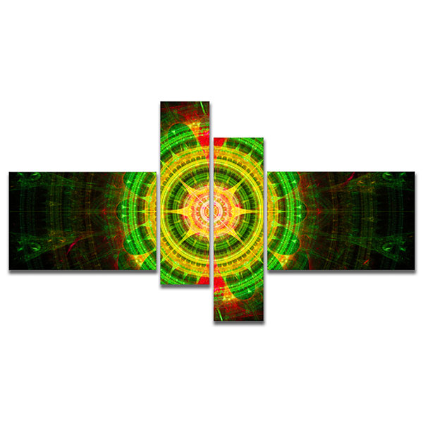 Designart Bright Green Fractal Sphere MultipanelAbstract Wall Art Canvas - 4 Panels