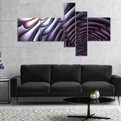 Designart Purple Flower Shaped Fractal Art Multipanel Abstract Wall Art Canvas - 5 Panels