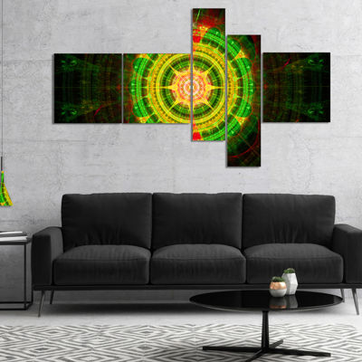 Designart Bright Green Fractal Sphere MultipanelAbstract Wall Art Canvas - 5 Panels