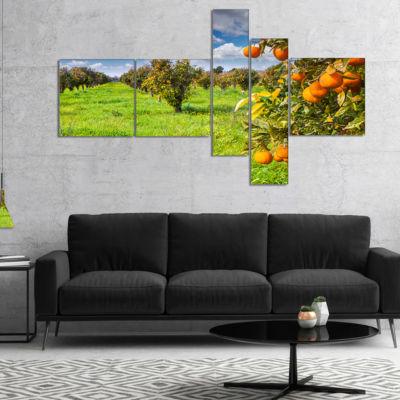 Designart Bright Green Grass In Orange Garden Multipanel Landscape Canvas Art Print - 5 Panels