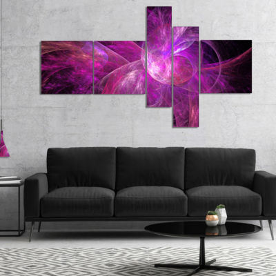 Designart Purple Fractal Abstract Illustration Multipanel Abstract Canvas Art Print - 5 Panels