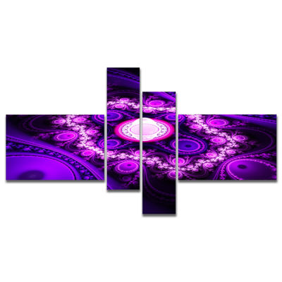 Designart Purple Fractal Circles And Waves Multipanel Abstract Canvas Art Print - 4 Panels