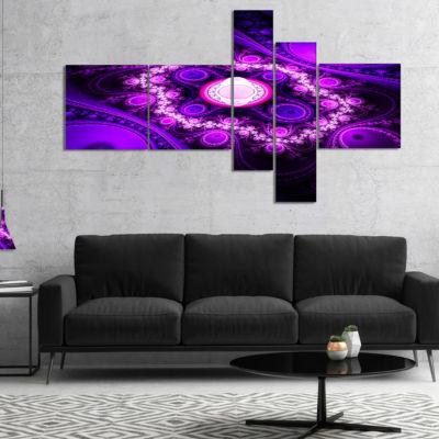 Designart Purple Fractal Circles And Waves Multipanel Abstract Canvas Art Print - 5 Panels