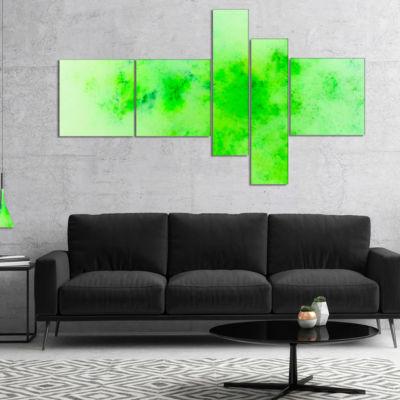Designart Bright Green Starry Fractal Sky Multipanel Abstract Canvas Art Print - 5 Panels