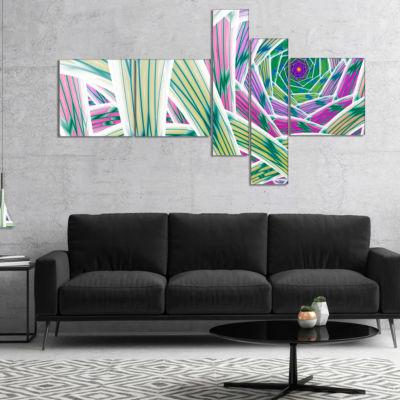 Designart Purple Fractal Endless Tunnel MultipanelAbstract Canvas Art Print - 4 Panels