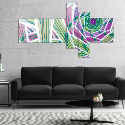 Designart Purple Fractal Endless Tunnel MultipanelAbstract Canvas Art Print - 5 Panels