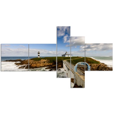 Design Art Bright Illa Pancha Lighthouse MultipanelSeashore Photo Canvas Print - 5 Panels