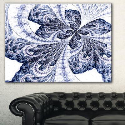 Designart Symmetrical Purple Fractal Flower Abstract Canvas Art Print - 3 Panels
