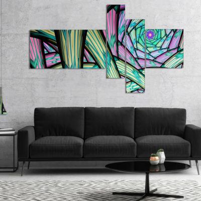 Designart Purple Fractal Endless Tunnel MultipanelAbstract Canvas Artwork - 5 Panels
