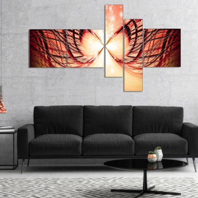 Designart Bright Light On Red Fractal Design Multipanel Abstract Canvas Wall Art Print - 5 Panels