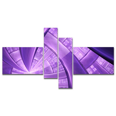 Designart Purple Fractal Exotic Plant Stems Multipanel Abstract Canvas Art Print - 4 Panels