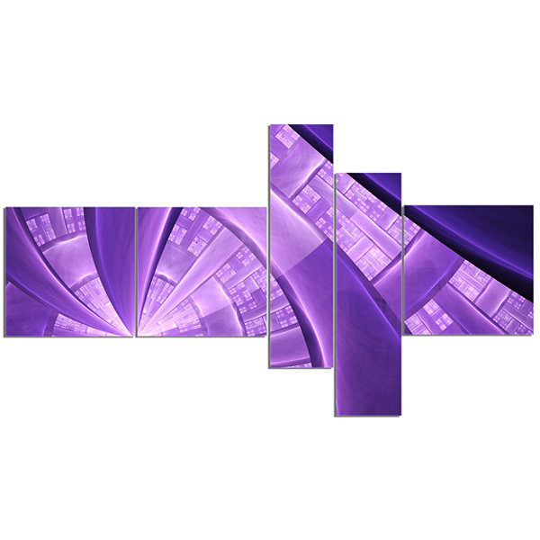 Designart Purple Fractal Exotic Plant Stems Multipanel Abstract Canvas Art Print - 5 Panels