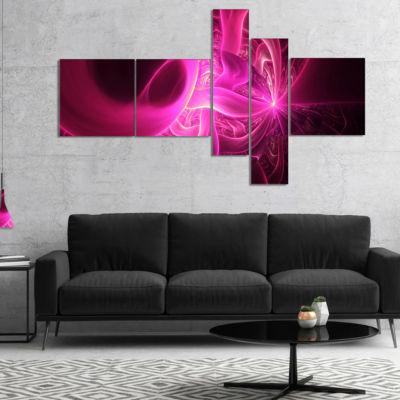 Designart Bright Pink Designs On Black MultipanelAbstract Wall Art Canvas - 4 Panels