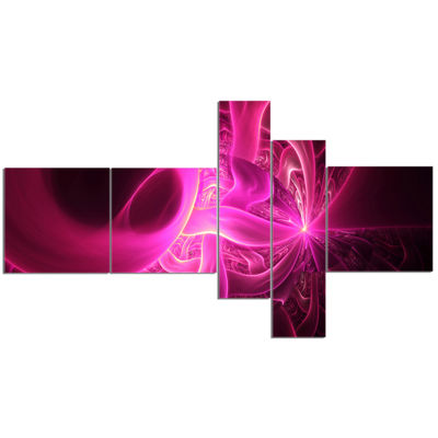 Designart Bright Pink Designs On Black MultipanelAbstract Wall Art Canvas - 5 Panels