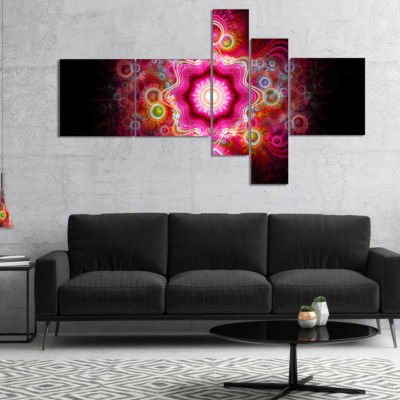Designart Bright Pink Fractal Flower Multipanel Abstract Wall Art Canvas - 5 Panels
