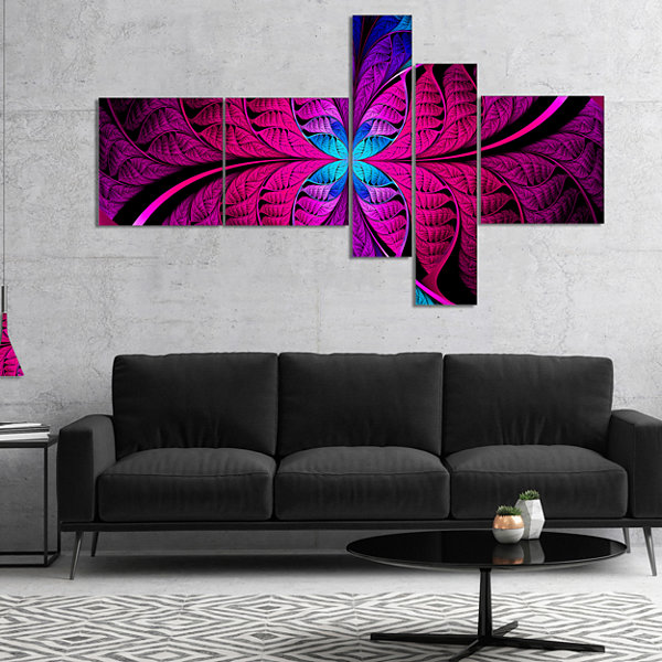 Designart Bright Pink Fractal Stained Glass Multipanel Abstract Canvas Art Print - 4 Panels