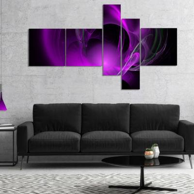 Designart Purple Fractal Galactic Nebula Multipanel Abstract Wall Art Canvas - 5 Panels